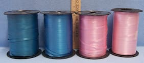 Lot of 4 Curling Ribbon Spools Crafts Blue / Green & Pink Balloons Gift Wrapping