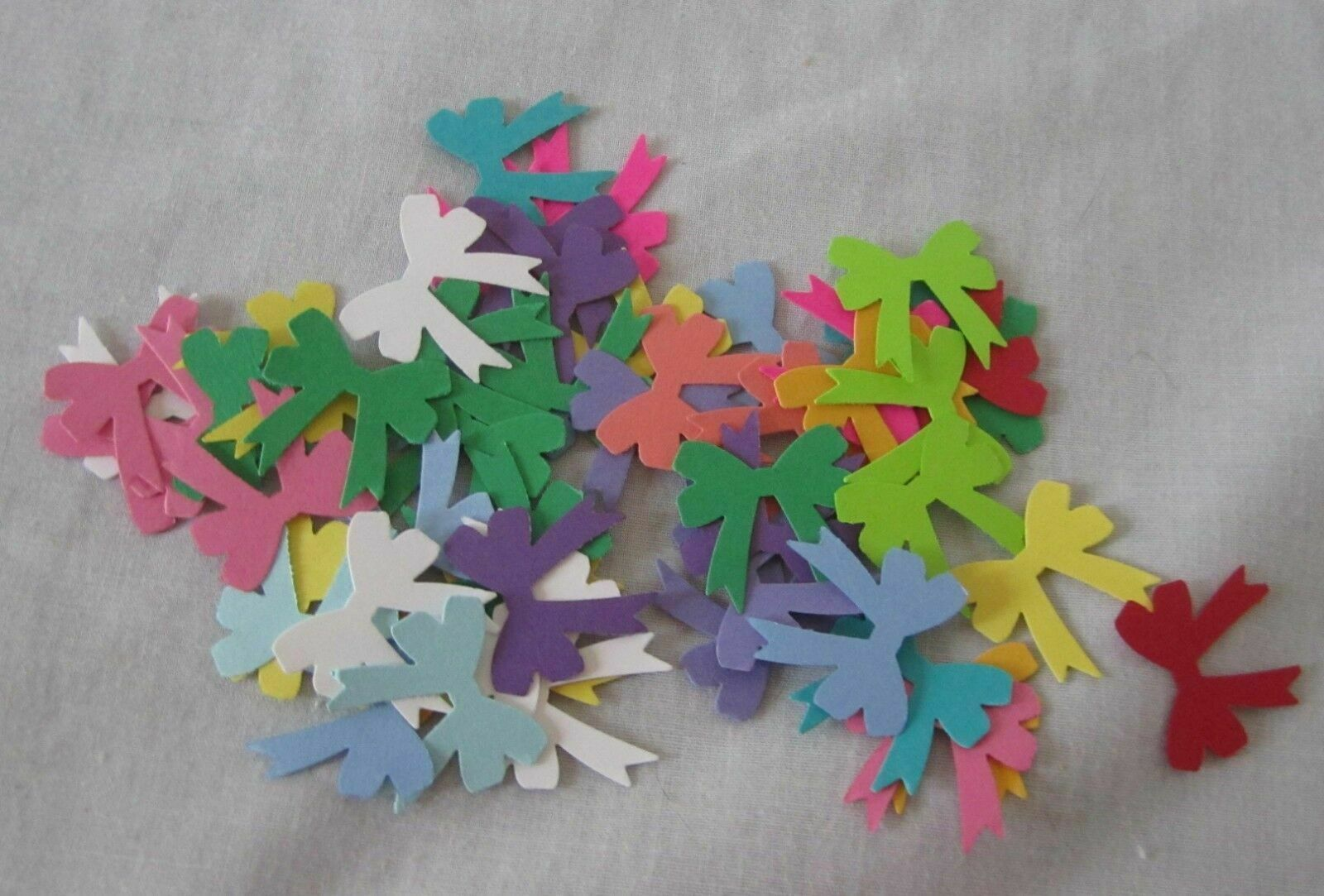 Lot of 50 Small Punched Bows Acid Lignin Free Paper U Pick Color Combination