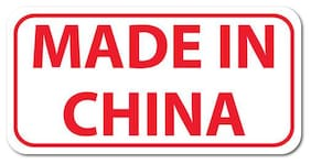 Made In China, Rectangle, Red on White Gloss Labels, Roll of 1,000