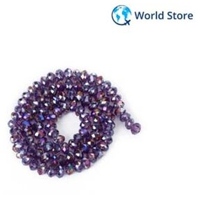 Magideal 4 X 6mm Faceted Crystal Glass Rondelle Loose Beads 16.5 Inch - Violet