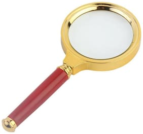 Magnifying Glass 70mm Double lens Magnifier 3X Wooden Handle Gold Plated