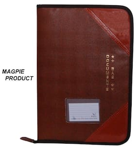 Magpie Faux Leather F/S Executive File Folder Tan (Assorted Color)