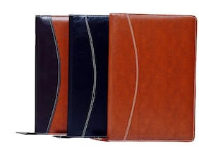 Magpie Faux Leather Executive File Folder B4 Black,Tan & Double Colour Set of 3 Multicolor
