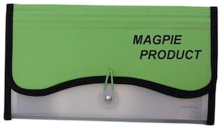 Magpie Polypropylene Transparent Expanding Cheque Book Holder Case Green Color