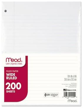 Mead Filler Paper 15lb Wide Rule 3 Hole 10 1/2 x 8 200 Sheets 15200