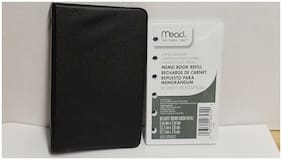 "Mead Memo Book 6 Ring Binder Black with extra refill 5"" x 3"""