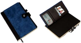 Meenamart B73 - Premium Notebook with Card Holder, Bookmark, Pen Holder (Can be Laser Engraved)