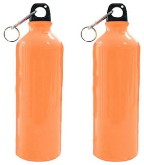 Meenamart Coloured Steel Water Bottle Carrot Orange Matte 750 ml Pack of 2