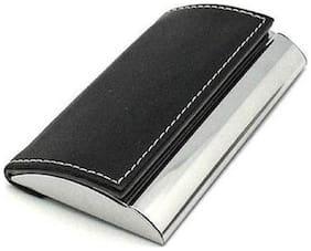 BIRDWARE Men Black Artificial Leather Card Holder Business Black Visiting Debit Credit ATM Card Holder Leather & Metal Case