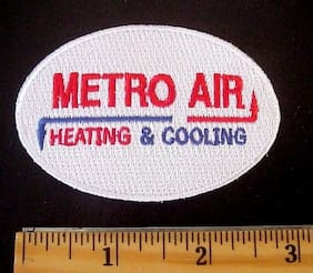 Metro Air Heating & Cooling Employee Shirt or Cap Embroidered Iron On Patch