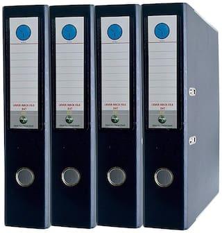 MMRJ Finest Paper File- Box File -Post Binder -Index File (Pack of 4)  (Set Of 4, Navy Blue)