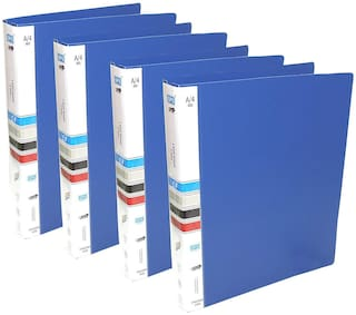 MMRJ Plastic Ring Binder File, 2D A4 Size Tough & Durable A4 Size Ring Binder Box Board File Pack OF 4