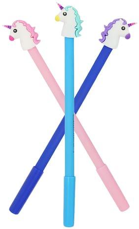 Mobaccs Pink, Sky Blue and Blue Unicorn Gel Pen (Set of 3 pcs)