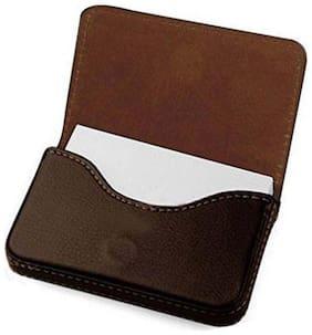 Mobidezire  Leather  VISITING,VISA,CREDIT, card holder with 12 plastic inner pocket Wallet-Brown color  pack of 1