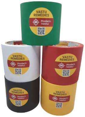 """ModernVastu Remedies Red/Green/Black/Yellow/White Colour Tape for Zone Balancing & Rectification of (Main Entrance & Toilet Correction   Size 3.5"""" Inch - 20 Meter"""