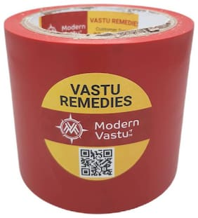 """ModernVastu Remedies Red Colour Tape for Zone Balancing & Rectification of (Main Entrance & Toilet Correction   Size 3.5"""" Inch - 20 Meter"""