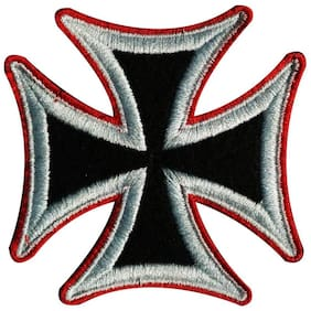 Motohog Unique Embroidered Sew on Patch for Denim Jeans & Jackets (Nazi Cross, Multicolor)
