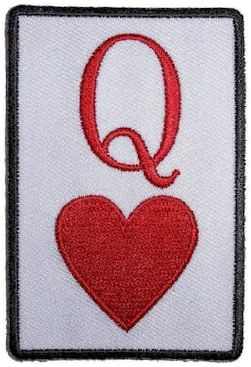 Motohog Unique Embroidered Sew on Patch (Queen of Hearts, Red & White)