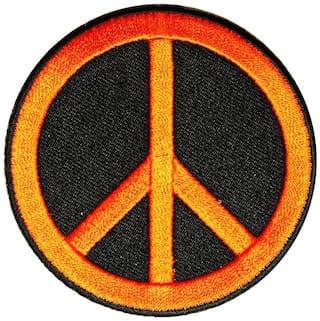 Motohog Unique Embroidered Sew on Patch (Peace Symbol, Orange)
