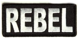 Motohog Unique Embroidered Sew on Patch (Rebel, White)