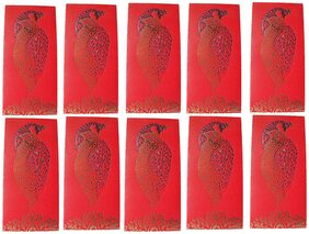muccasacra  Ethnic/ Festive/Wedding & all Purpose Money cover/ Cash cover Shagun Peacock vertical Envelopes( Red Pack of 10)