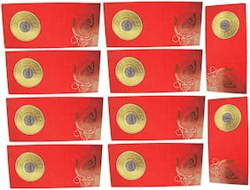 muccasacra Red Designer/ Festive/Wedding & all Purpose Money cover/ Cash cover/ 1 Rupee coin Shagun Envelopes  colour (Pack of 10)