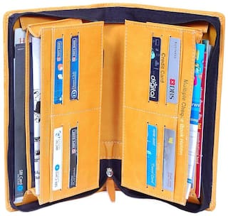 multiple use cheque book and passport holder yellow set of 1