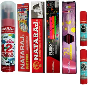 NATARAJ 2 FOR 1 RUBBER TIPPED PENCILS + NATARAJ 621 PENCILS + NATARAJ FLURO PRINTS RUBBER TIPPED PENCILS + NATARAJ FULL SIZE COLOUR PENCILS + NATARAJ GLUE STICK + NATARAJ PICTURE PENCILS