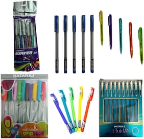 NATARAJ FLUID X BALL PEN+DEW BALL PEN+SUPER X2 BALL PEN+SURFER BALL PEN+FLORITE  BALL PEN+POPFLOW BALL PEN WITH INK COLOUR AS PER BODY COLOUR