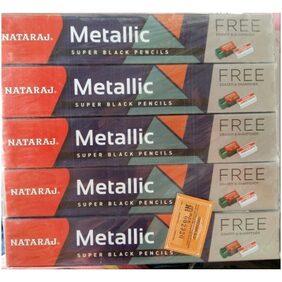 Nataraj metallic pencil pack of 100 pencils +10 rubbers + 10 sharpners