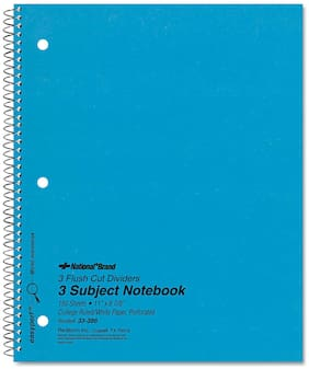 National 3 Subject Wirebound Notebook College Rule 11 x 8 7/8 White 150 Sheets