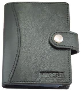 Naysa 15 Slots Leather Unisex RFID Card Holder (Black)