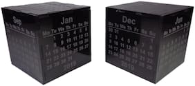 NEKBAL Black Cube Desk Calendar 2019, Festival Season Gift Ideas, 2019 Desk Calendar/Paperweight, Gift for men women and kids, Laser Engraved Table Calendar 2019