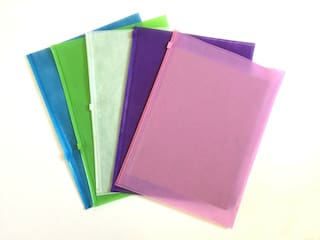 New A4 Waterproof Fabric & Clear Plastic Document Bag Paper File Folder 5-Pack