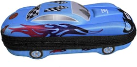 New Series Printed Art Car Shaped Big Pencil Pouch (Set of 1;Blue)