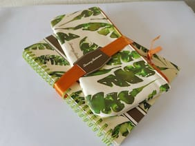 New Tommy Bahama Watercolor Palmier Notebook and Pencil Case/Cosmetic Set