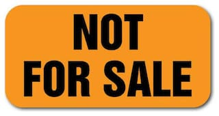 """""""NOT FOR SALE"""" 1 x 0.5 Rectangle Fluorescent Orange, Roll of 1,000 Labels"""