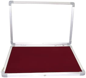 Notice Board Lightweight Aluminium Frame with Door for Home Office School, 1.5X2 Feet, Maroon