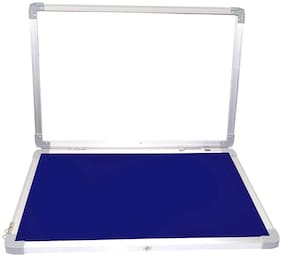 Notice Board Lightweight Aluminium Frame with Door for Home Office School, 1.5X2 Feet, Blue