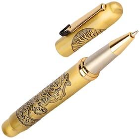 Oculus  Carving 5058 Magnatic Cap, Titanium Steel Tip, Embossed  Om & Dancing Ganesha  Golden Brass Body Metallic Roller Ball Pen.