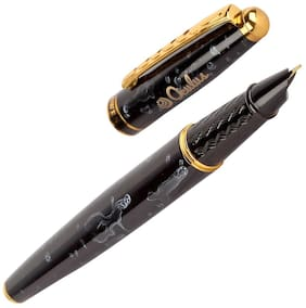 Oculus  Granite Marble 5560 Titanium Steel Tip, Black & Golden Combination Metallic Fountain Pen. Fitted with Germany Made Components.