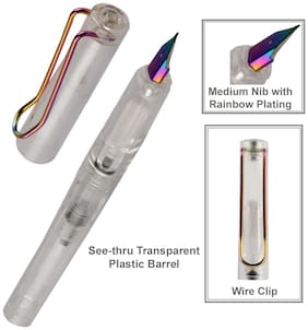 Oculus  Grip 5114 Rainbow Clip and Nib, Transparent Plastic Fountain Pen.