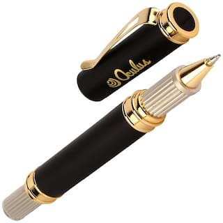Oculus  President 5457 Cap On/Off mechanism with Titanium Steel Tip, Black & Golden Combination Metallic Roller Ball Pen. Fitted with Germany Made Refill. Presented in Gift Box.