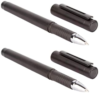 Oculus  Primus 5357 Cap On/Off mechanism with Titanium Steel Tip, Black Plastic Roller Ball Pen. Fitted with Germany Made Refill. Pack of 2