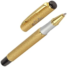 Oculus  Sandstone 5601 Cap On/Off mechanism with Titanium Steel Tip, Golden Grainy Pattern Metallic Roller Ball Pen. Fitted with Germany Made Refill. Presented in Gift Box.