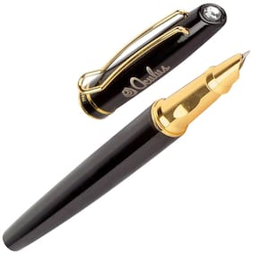 Oculus  Smooth 5442 Titanium Steel Tip, Jewel Stone on Crown, Black & Gold Combination Metallic Fountain Pen. Fitted with Germany Made Components.