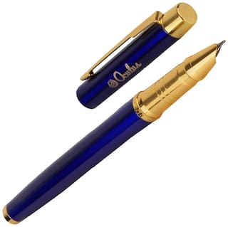 Oculus  Smooth 5421 Titanium Steel Tip, Blue with Golden Combination Metallic Fountain Pen. Fitted with Germany Made Components.