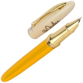Oculus  Sparkle 5203 Titanium Steel Tip, Yellow & White Combination Metallic Fountain Pen. Fitted with Germany Made Components. Presented in Gift Box.