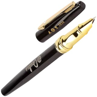 Oculus  Sparkle 5210 Titanium Steel Tip, Diamond on Clip, Black & Golden Combination Metallic Fountain Pen. Fitted with Germany Made Components.