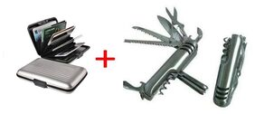 OFFICE COMBO ALLUMA WALLET CARD HOLDER AND MULTI FUNCTION ARMY KNIFE